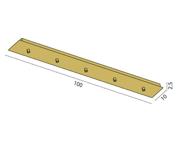 גוף תאורה אלמנט S5: בסיס מלבני ל-5 גופים