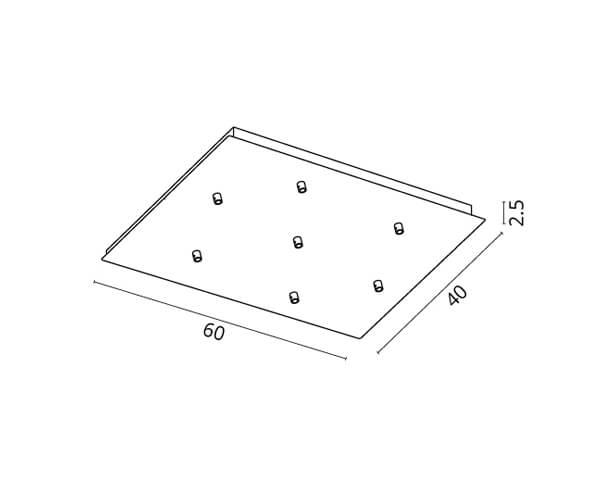 גוף תאורה אלמנט S7: בסיס מלבני ל-7 גופים