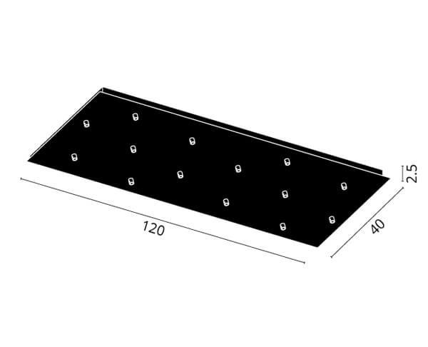 גוף תאורה אלמנט S14: בסיס מלבני ל-14 גופים